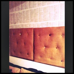 grain sack head board made from canvas pictures