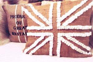 grain sack, and felt ruffled union jack pillow