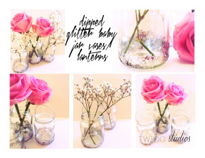 dipped glitter baby food jars