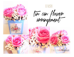 tin can flower arrangment