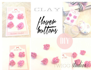 clay flower buttons