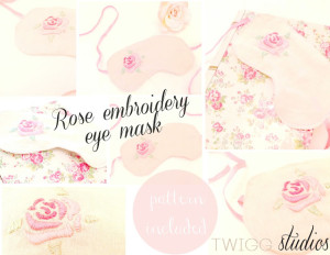 rose embroidery eye mask and pattern