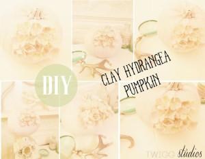 clay hydrangea pumpkin tutorial