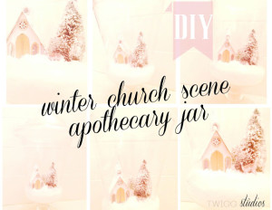 winter church scene apothecary jar