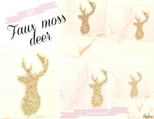 diy faux moss deer on faux wooden board