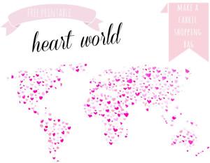 painted heart world printable for reuseable shopping bag