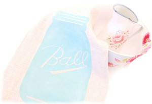 freezer paper stencil mason jar kitchen towel