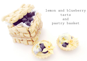 lemon and blueberry tarts and pastry basket (plus fondant daffodils tutorial)