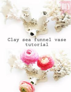 clay sea coral funnel vase tutorial