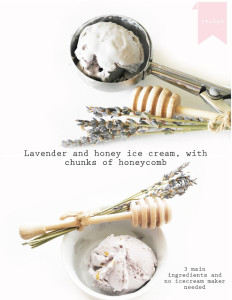 lavender and honey ice cream with honeycomb chunks with out an ice cream maker