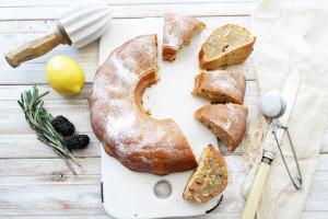 lemon blackberry and rosemary sour cream bundt cake