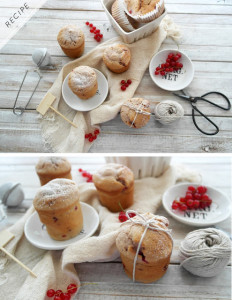 redcurrent raspberry and almond muffins