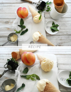 honey roasted peach and fresh mint icecream