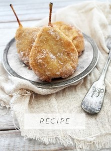 pear fritters and cinnamon sugar