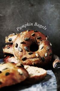 pumpkin bagels with pumpkin seeds