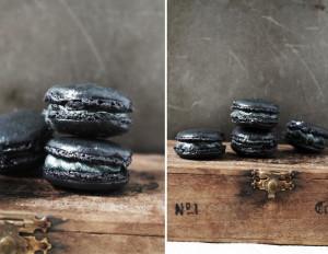 black sesame macarons for halloween