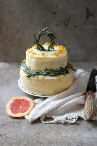 pink grapefruit and rosemary cake