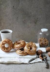 baked coffee walnut doughnuts