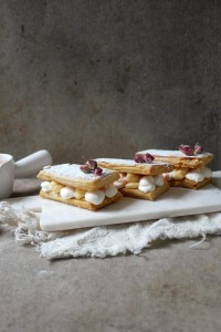 rose and lychee mille feuille