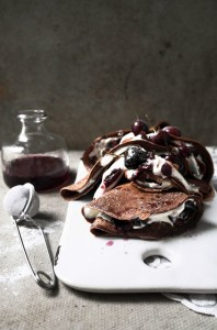 black forest crepes (chocolate and cherry)