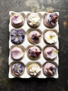 spelt flour mini floral cupcakes