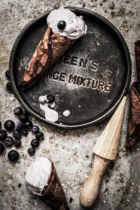 summer berry icecream and homemade chocolate cones