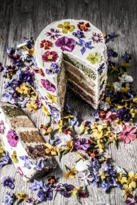 natural coloured rainbow cake with edible flowers