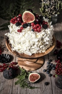 coconut coated sponge cake topped with fruit