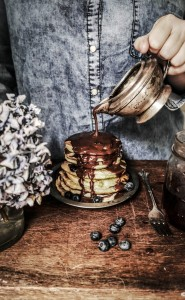 blueberry lavender scotch pancakes with earl grey fudge sauce