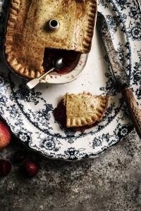 strawberry apple pie with pistachio pastry