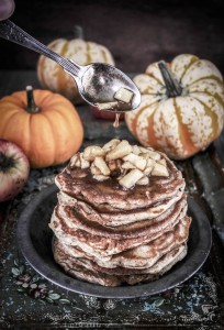 masala chai pumpkin pancakes with caramel apples