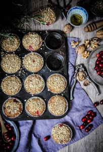 rye cranberry muffins with oat and walnut topping