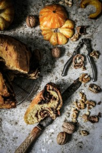 chocolate walnut and pumpkin babka
