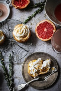 pink grapefruit and rosemary breton meringue tarts
