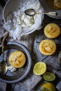 winter citrus honey and saffron syrup cakes with sweet labne