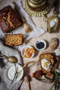 banana cake with salty honey creme fraiche