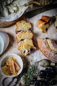 black grape lemon and thyme cake with comb honey and yogurt cheese