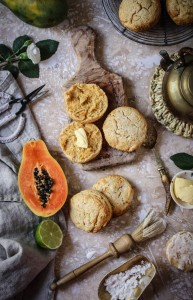 Papaya and lime scones