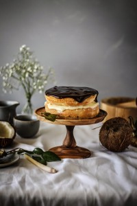 Boston cream pie with kaffir lime leaf and lemon grass infused coconut milk custard