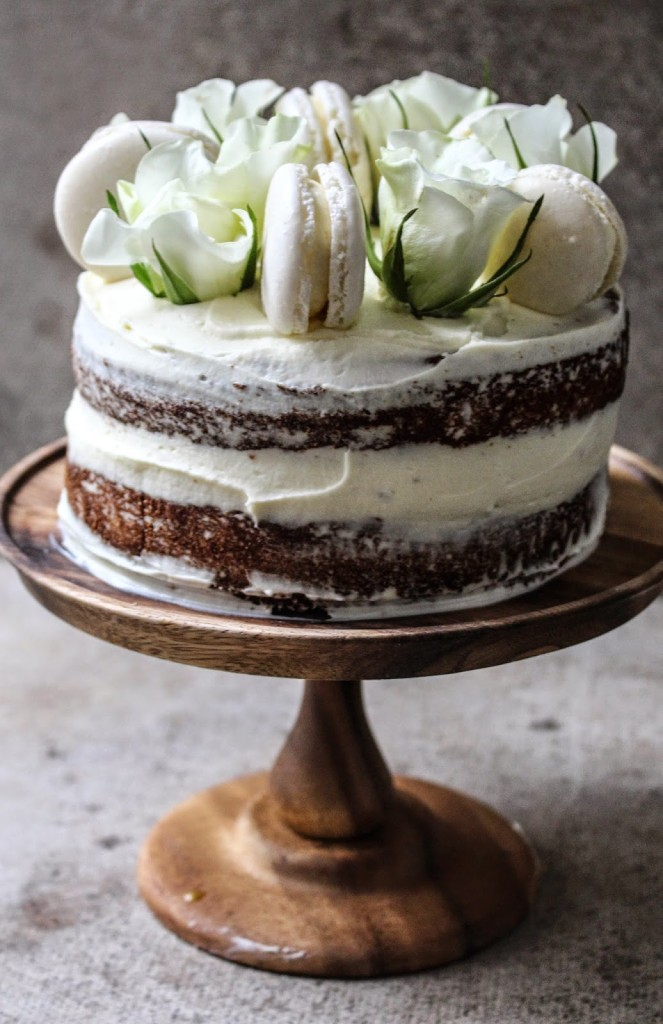 Buckwheat Honey Cake With Rose Mascapone Cream Frosting