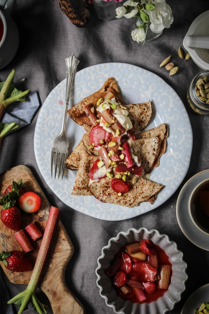 Rye crepes with cardamom poached rhubarb and strawberries for Poached strawberries