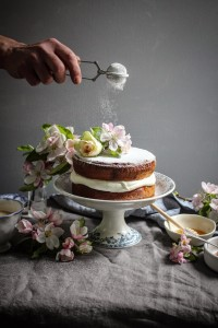 blossom honey victoria sponge wih rose petal jam and stories of france