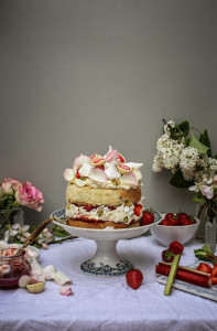 strawberry rhubarb and rose eton mess cake and rhubarb apple and pistachio tart