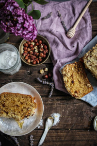 salty honey banana bread with lavender sugar hazelnut crumble