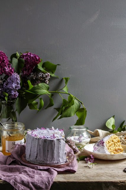 Earl Grey And Lemon Verticle Roll Cake With Lilacs Twigg
