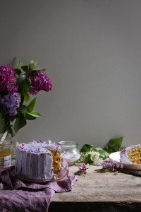 earl grey and lemon verticle roll cake with lilacs