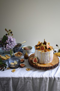 banana, walnut, fig and honey cake with blackberry cream