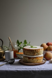 fresh mint studded cake with melon and peach jam