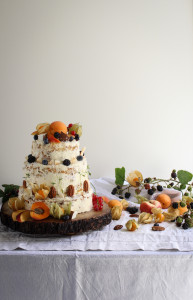 fruity carrot and parsnip cake with apricots, nectarines and berries