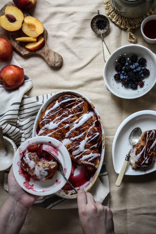 nectarine black and blueberry cinnamon roll bake